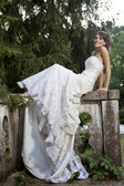 Bride in teh park — Stock Photo