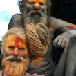 Sadhus in Kathmandu - Stock Photo