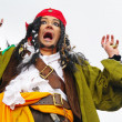 Portrait of the actor in the guise of Jack Sparrow on a sailing ship — Stock Photo