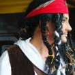 Actor in the guise of Jack Sparrow in the interior of a sailing ship — Stock Photo #8521821