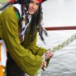 Actor Jack Sparrow in the form of a rope on a sailing ship, the Castor-1 — Stock Photo
