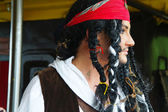 Actor in the guise of Jack Sparrow in the interior of a sailing ship — Stock Photo