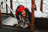 Actor in the guise of Jack Sparrow on a sailing ship gangway Castor-1 — Stock Photo