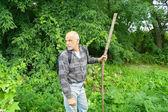 森の茂みに入るバックパック観光と老人 — ストック写真