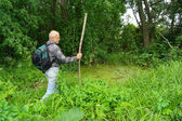 An elderly man with a backpack tourist goes into the thickets of the forest — Stock Photo