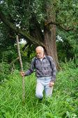 Un uomo anziano con un turista zaino va nelle boscaglie della foresta — Foto Stock