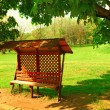 Bench in shadow on maple tree — Stock Photo