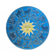 Stock Photo: Dark blue horoscope wheel