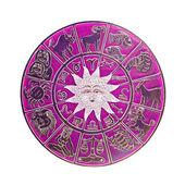 Magenta horoscope wheel — Stock Photo
