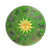 Green horoscope wheel — Stock Photo