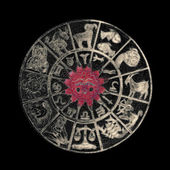 Inverted horoscope wheel — Stock Photo
