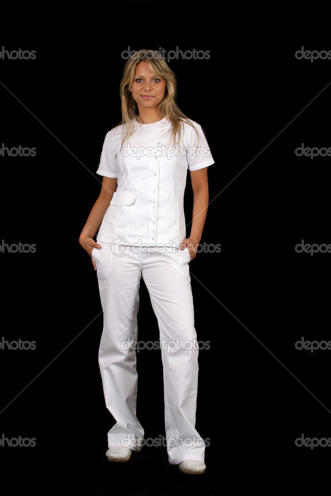 Pretty female doctor in a modern uniform — Stock Photo #8948325