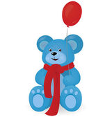 Blue Teddy bear with red balloon — Vector de stock