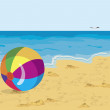 Vector de stock : Big colorful ball on beach seagull and ship