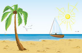 Palm tree on sand beach and bat sailing in the ocean — Stock Vector