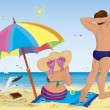 Stock Vector: Married couple on beach under umbrella
