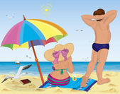 Married couple on the beach under umbrella — Stock Vector