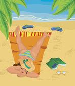 Ung kvinna tupplur på stranden — Stockvektor
