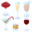 Cocktail-icon-set — Stock Vector