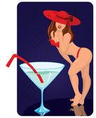 红色帽子的年轻女人站在巨人的鸡尾酒 — 图库矢量图片