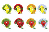 Set-of-vector-stickers-with-lemon-and-strawberry — Vector de stock