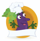 Eggplant-cartoon-character-with-promo-ribbon — Stock Vector