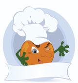 Orange-cartoon-character-with-promo-ribbon — Stock Vector