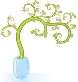 Decorative tree flowers copy space — Stock Vector