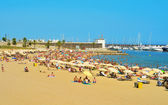 Barceloneta-Somorrostro Beach in Barcelona, Spain — Stock Photo