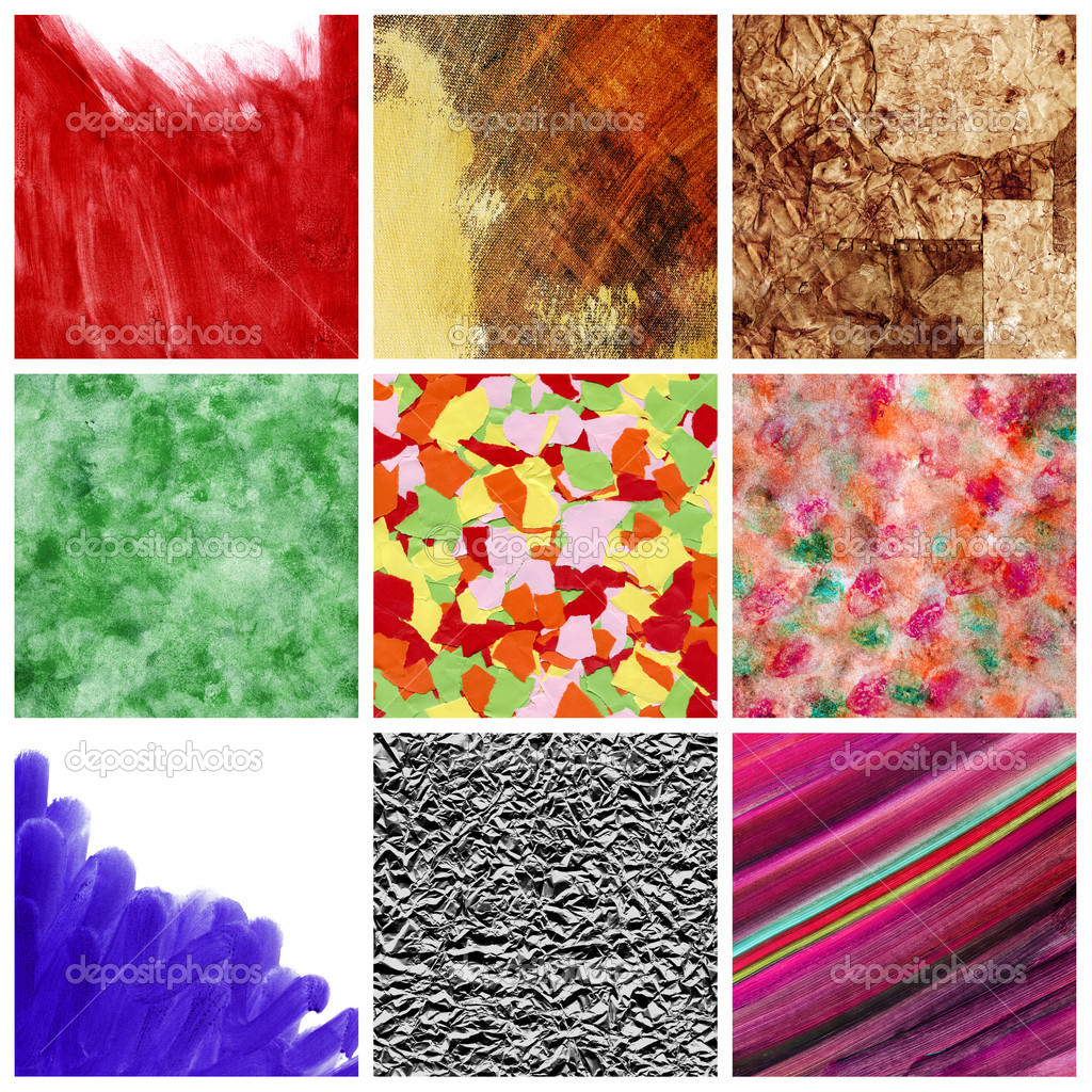 A collage of nine pictures of different textures and backgrounds — Stock Photo #10159790