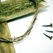 Stock Photo: Crown of thorns, cross and nails