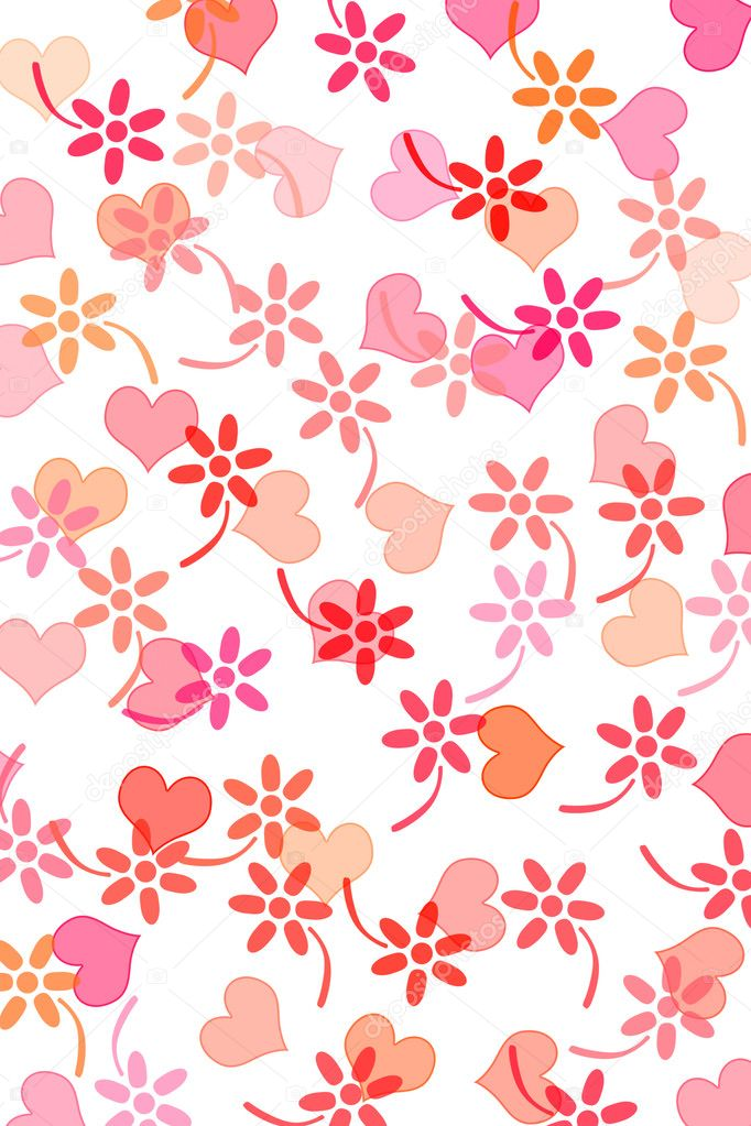 Hearts and flowers drawn on a white background — Stock Photo #10277809