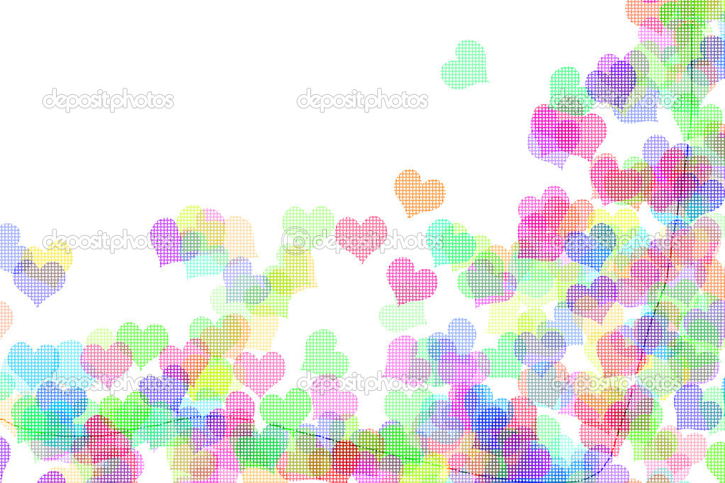 Hearts of different colors drawn on a white background — Stock fotografie #10279717