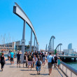 Stock Photo: Rambla de Mar and Port Vell in Barcelona, Spain