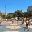 Plaza Catalunya in Barcelona, Spain - Stock Photo