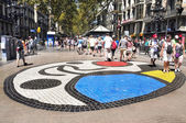Pla de l'Os mosaic in Las Ramblas, in Barcelona, Spain — Stock Photo