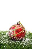 Snowy christmas ball — Stock Photo