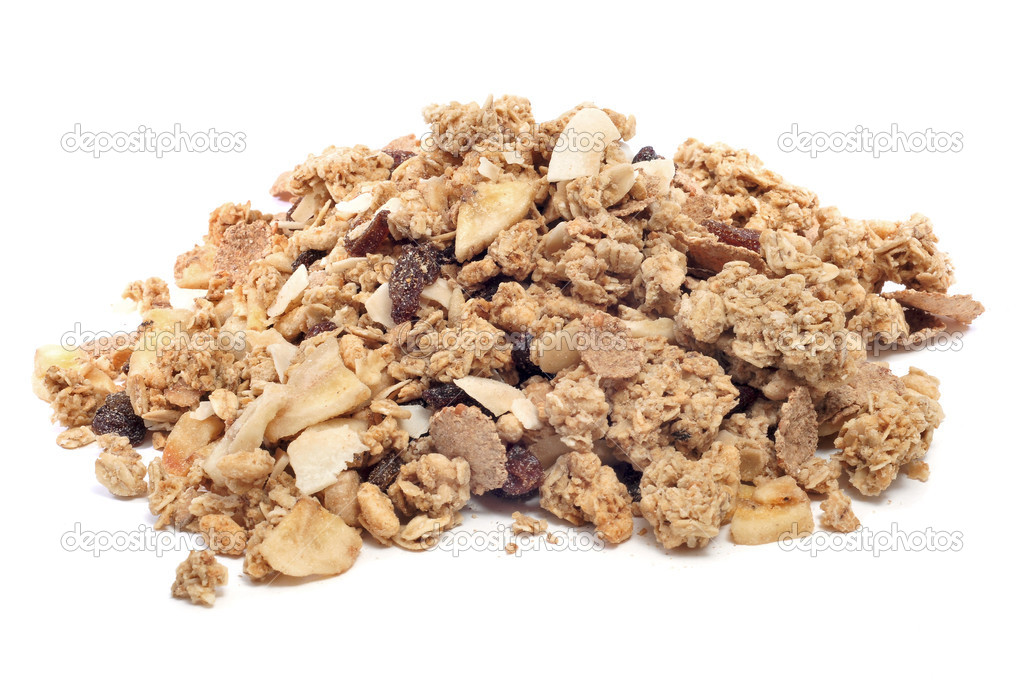 A pile of muesli on a white background — Stock Photo #8421508