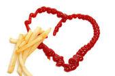 Pommes frites och hjärta — Stockfoto