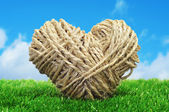 Rope heart on the grass — Stock Photo