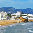 Sant Sebastia Beach in Sitges, Spain - 图库照片
