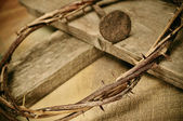 Crown of thorns, cross and nail — Stock Photo