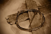 Jesus Christ cross, nail and crown of thorns — Стоковое фото