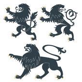 Heraldic Lions set — Stock Vector
