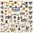 Heraldic Design Elements set - Stok Vektr