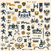 Heraldic Design Elements set — Stok Vektör