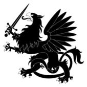 Black heraldic griffin with sword — Stock Vector