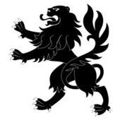 Black heraldic lion — Stock Vector