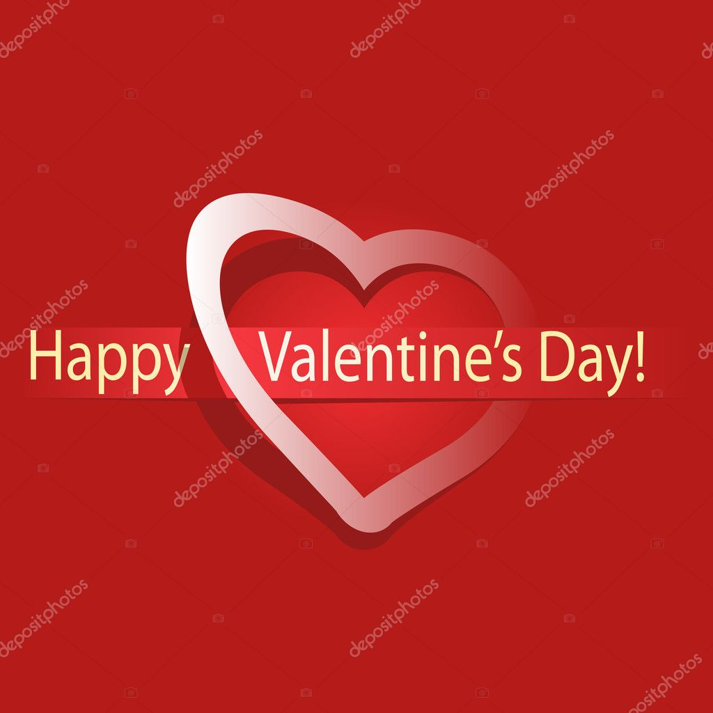 Valentines day Greeting card, vector illustration  Stock Vector #8458145