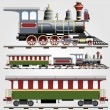 Retro steam train with coach — Stock Vector #9101903